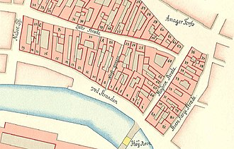 Højbro Plads - The site before the square was created as seen on Gedde's district map from 1756