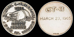 Gemini 3 mission emblem and crew names (front). Flight date (back)
