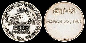 NASA space-flown Gemini and Apollo medallions - Image: Gemini 3 Flown Silver Fliteline Medallion