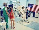 "Gene Cernan's wife Barbara and daughter Teresa (""Tracy"") observe Gene during lunar EVA training.jpg"