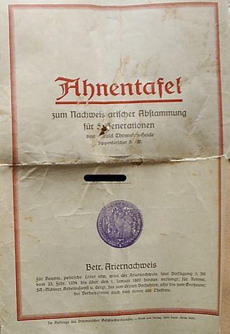 Ahnentafel - Ahnentafel published as an Ariernachweis