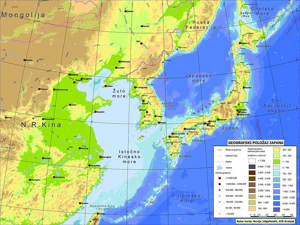 Geografski položaj Japana u Istočnoj Aziji