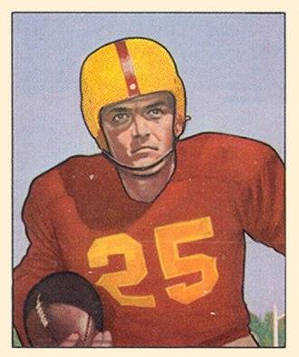 George Thomas (American football) - Thomas on a 1950 Bowman football card