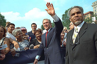 John F. Street - John F. Street with President George W. Bush in Philadelphia during Independence Day in 2001