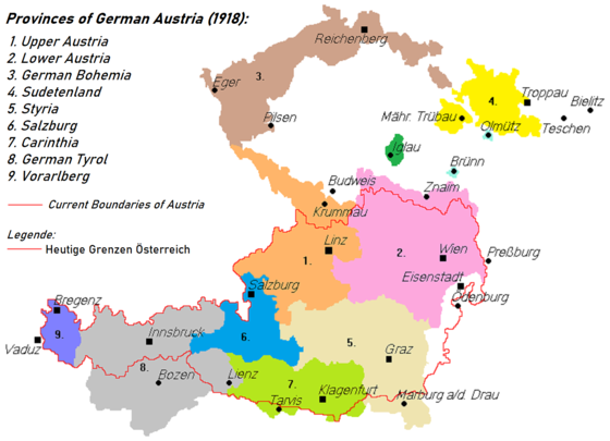 German-speaking provinces claimed by German-Austria in 1918: The border of the subsequent Second Republic of Austria is outlined in red