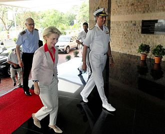 Ursula von der Leyen - German Defence Minister Ursula von der Leyen after being received by Vice Admiral AR Karve, Chief of Staff, Western Naval Command during her visit to India