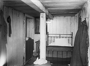 Battle of Guillemont - Image: German bunker with bed Somme 1916 IWM Q 1384
