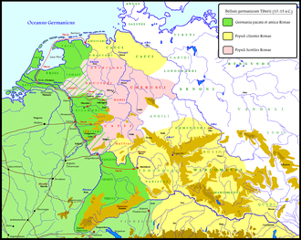 Germanic Wars - Campaigns of Tiberius and Germanicus in the years 10/11-13 CE. In pink the anti-roman Germanic coalition led by Arminius. In dark green, territories still directly held by the Romans, in yellow the Roman client states