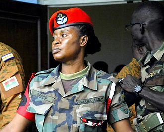 Ghanaian people - Ghana Armed Forces (GAF) Military Female Sergeant at a GAF military exercise, 2013 in Ghana.