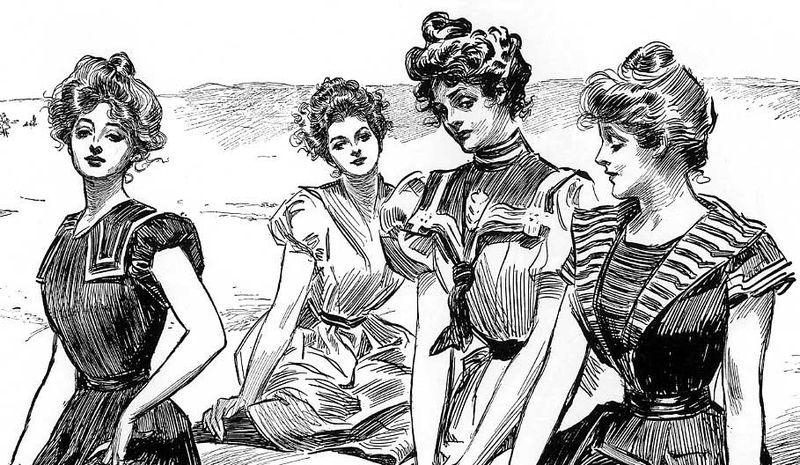 File:Gibson Girls seaside -cropped- by Charles Dana Gibson.jpg