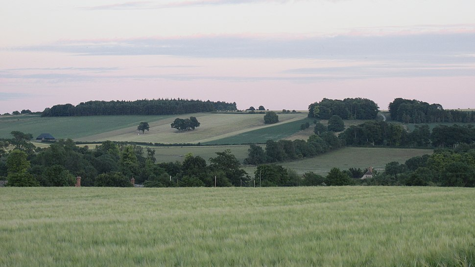 Characteristic landscape of farmland, hills and woodlands