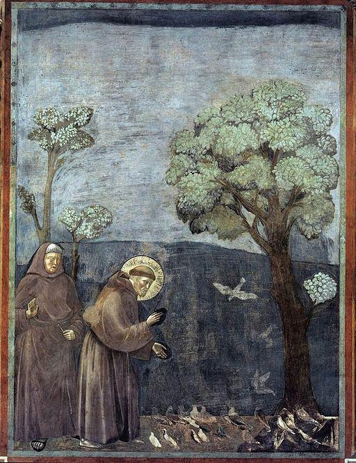 Giotto di Bondone, La predica agli uccelli, 1290-1295 circa, affresco, 270 × 200 cm, Basilica superiore di Assisi, Assisi