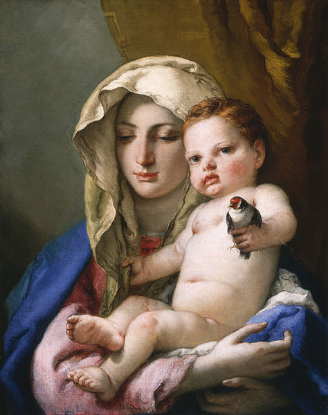 Giovanni Battista Tiepolo Madonna of the Goldfinch c. 1760 depicts the baby with noticeably red hair!
