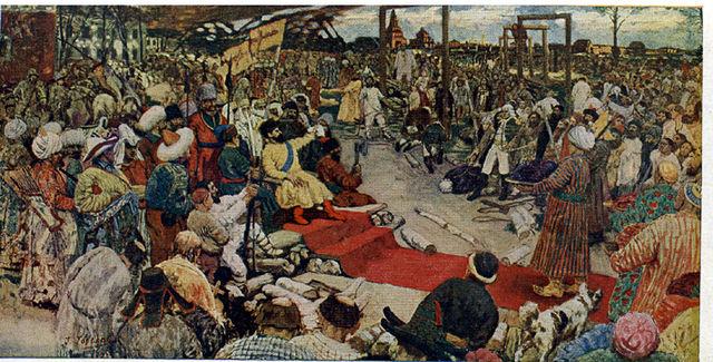 «Пугачёв в Казани творит суд», почтовая карточка 1931 года, издание Музея Революции Союза ССР.