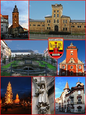 Gotha - Top left: St Margarethen, Top right: Marstall, Middle left: Water feature in front of Friedenstein Castle, Middle right: Rathaus Gotha in Hauptmarkt, Bottom left: View of Christmas illumination event in Hauptmarkt, Bottom centre: Porch in St Margarethen Church, Bottom right: Bruhl Street