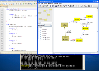 GrGen - Debugging of a sequence generating a Koch-snowflake (the rules on the left, GrShell with highlighted current rule below, yComp with highlighted match in the host graph on the right)