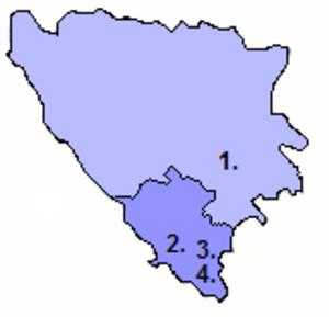 Ali-paša Rizvanbegović - Territories under the control of Ali-paša Rizvanbegović  and his allies (in darker shade).