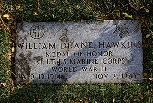 William D. Hawkins - Grave stone of William Deane Hawkins in the National Memorial Cemetery of the Pacific (Punchbowl), Honolulu, Hawaii