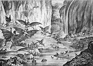 "Great Moon Hoax - A lithograph of the hoax's ""ruby amphitheater"", as printed in The Sun"