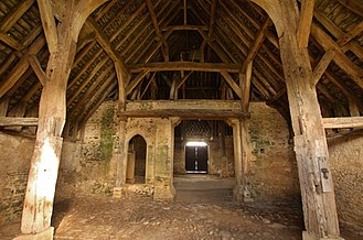 Great Coxwell Barn - Inside the west porch,looking east toward the main part of the barn