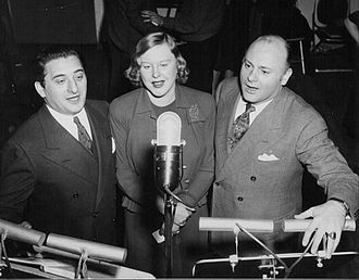 "Robert Weede - Weede at right with Jan Peerce and Jean Tennyson on the radio program ""Great Moments in Music"", 1942"