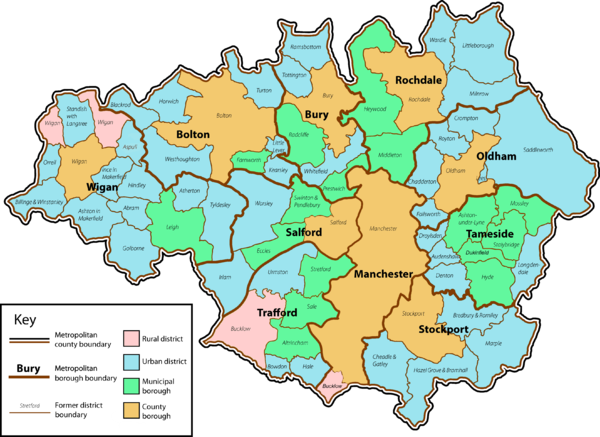 The metropolitan county of Greater Manchester, divided into ten metropolitan boroughs Greater Manchester County (3).png