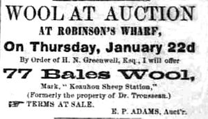 Henry Nicholas Greenwell - 1880 advertisement: wool is usually not associated with tropical islands
