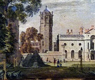 Royal Arsenal - The octagonal tower of Tower Place alongside the Royal Military Academy