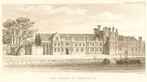 Palace of Placentia - A sketch of Greenwich Palace in England, published in The Gentleman's Magazine in 1840. earlier published by W Bristow in 1797.