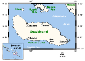 Guadalcanal - Guadalcanal's position (inset) and main towns.