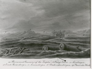 "HMS Sceptre (1781) - ""Slowing wreckage of Sceptre of Craig's Tower"" Sketch Lady Anne Barnard"