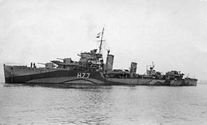 HMS Boreas (H77) - Image: HMS Boreas H77 greyscale