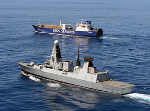 MV Ark Futura - Britain's HMS ''Diamond'' escorts Ark Futura transporting chemicals from Syria, February 2014