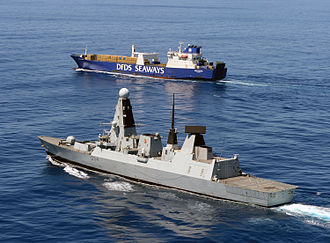 Destruction of Syria's chemical weapons - Image: HMS Diamond Escorting Ark Futura During Operation Recsyr MOD 45157603