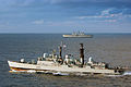 HMS Exeter is shown in the foreground with HMS Illustrious, taking part in Exercise Neptune Warrior. MOD 45146080.jpg