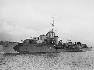 HMS Scourge (G01) - Image: HMS Scourge (G01) underway c 1943