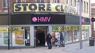 HMV - A branch in Wakefield closing as part of the group administration (March 2013).