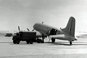 No. 202 Squadron RAF - Handley Page Hastings Met Mk.1 of 202 Squadron wearing Coastal Command camouflage at Manchester Airport in 1954