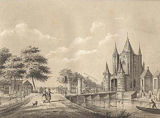 Amsterdamse Poort, Haarlem - Picture of the Amsterdamse Poort in the 17th century. On a Haarlem map from 1646 it was still listed as Sparwouwer Poort.