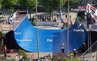 Half-pipe - Vert ramp with vert, transition, and flat