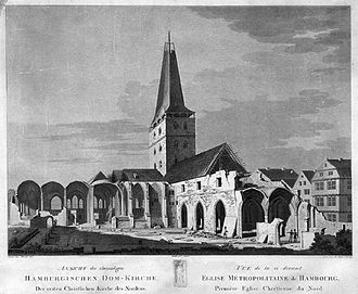 St. Mary's Cathedral, Hamburg - Hamburg Cathedral, seen from east, during demolition in 1806