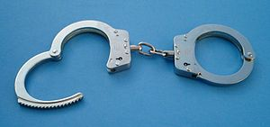 A pair of standard law enforcement handcuffs
