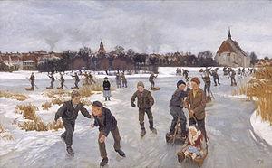 Peter Hansen (painter) - Image: Hansen På isen bag byen Fåborg 1901