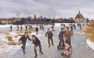 Funen Painters - Peter Hansen: På isen bag byen Fåborg (1901)