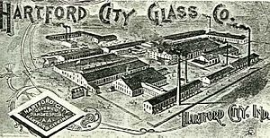 old drawing of a glass factory