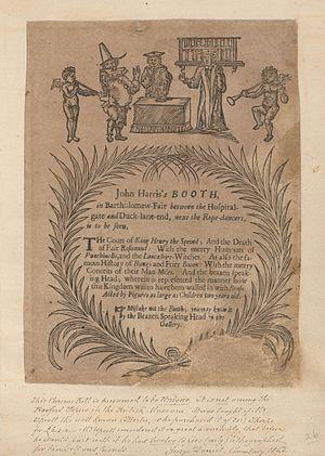 Bartholomew Fair - Advertisement for a puppetry booth at Bartholomew Fair, circa 1700