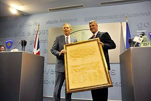 Tony Blair Associates - Former rebel leader Hashim Thaçi and Tony Blair with Declaration of Independence of Kosovo