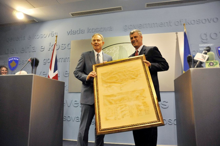 Hashim Thaci - Tony Blair with Declaration of Independence of Kosovo