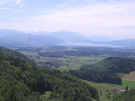 Hausen am Albis seen from Albis hills, Zugersee (lake) in the background.