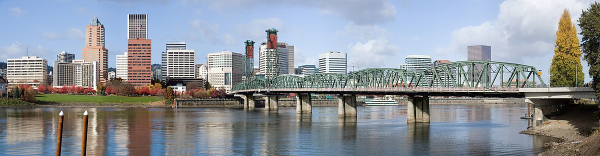 Panorama of downtown Portland. Hawthorne Bridge viewed from a dock on the Willamette River near the Oregon Museum of Science and Industry (OMSI)